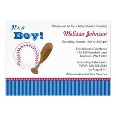 Baseball Boy Baby Shower Invitations