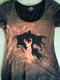 Bleachart shirt diy cut out a stencil and spray with bleach Harry Potter Patronus Dementor
