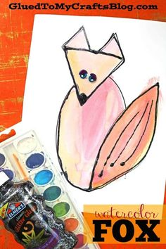 """I'm introducing my latest {and greatest} """"Black Glue Watercolor Fox Friend"""" craft idea that comes with a FREE template to get you started! Easy Fall Crafts, Halloween Crafts For Kids, Crafts For Kids To Make, Art For Kids, Fox Crafts, Fox Kids, Friend Crafts, Watercolor Fox, Craft Tutorials"""