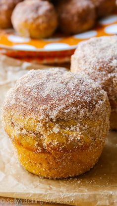 Perfect pumpkin muffins coated with cinnamon sugar. They taste like your favorite pumpkin muffins from the bakery!