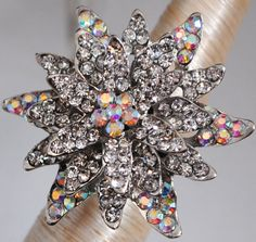 Rhinestone cocktail ring flower adjustable by victoriascharms, $15.00