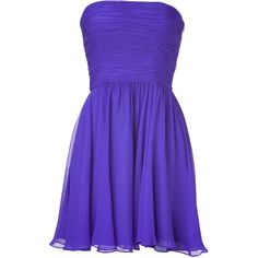 HALSTON HERITAGE Violet Strapless Swing Dress ($174) ❤ liked on Polyvore featuring dresses, vestidos, short dresses, robes, holiday party dresses, bandeau bikini top, cocktail party dress, cocktail dresses and blue party dress