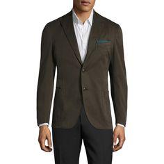 Boglioli Men's Solid Notch Lapel Blazer - Brown - Size 48 ($539) ❤ liked on Polyvore featuring men's fashion, men's clothing, men's sportcoats, brown, mens short sleeve blazer, mens clothing, mens one button blazer, mens blazers and mens blazer jacket