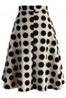 "Boasting big polka dots that scream ""Retro 60's"", this A-line midi skirt is everything you need to elevate your current wardrobe. The polka dots bring this midi silhouette to total life while the neutral black and crème tones provide sophistication.    - Bold polka dots  - High waistline - Back zip closure - Lined - 100% Polyester - Hand wash cold  Size(cm) Length  Waist XS               61         64 S                  61        68 M                61         72 L                  61      …"