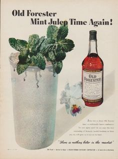 "Description: 1950 OLD FORESTER vintage print advertisement ""Mint Julep Time Again!""""Julep time is always Old Forester time! -- a traditionally famous combination for over eighty years! There is nothing better in the market. Brown-Forman Distillers Corporation."" Size: The dimensions of the full-page advertisement are approximately 11 inches x 14 inches (28cm x 36cm). Condition: This original vintage advertisement is in Very Good Condition unless otherwise noted ()."