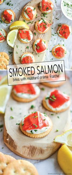 Smoked Salmon Bites with Mustard Crème Fraîche are the perfect appetizer! #PutItOnARitz #ad | www.cookingandbeer.com