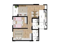Apto de 53m² com 2 dormitórios e living ampliado