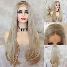 blonde synthetic wig #blondewig #straighthair