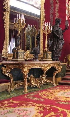 Rococo console in a palace in Spain.