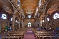 This is the inside of Castro Church on Isla de Chiloé.