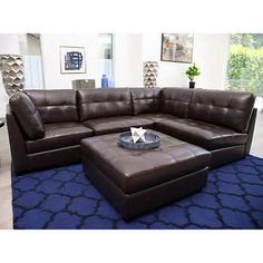 Calvin Top Grain Leather Modular Sectional Living Room Set Top Grain  Leather 2 Corner Chairs, 2 Armless Chairs And 1 Ottoman By Abbyson Living®