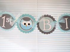 Boy Happy First Birthday Banner Owl Flower by Wildflowercraft, $31.00