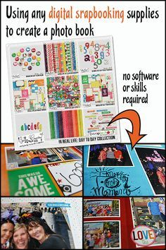 Using digital scrapbooking supplies to create a photo book. No software or skills required