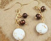 White Turquoise Earrings Brown Pearl 14kt Gold Filled Beaded Earrings Magnesite Stone Brown White Bridesmaid Earrings Fall Jewelry By SS