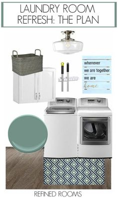 Revealing the plans for my laundry room refresh, including new flooring, paint, lighting, and some gorgeous accessories! Mudroom Laundry Room, Laundry Room Organization, Laundry Room Design, Organizing, Laundry Room Inspiration, Home Decor Inspiration, Decor Ideas, Room Ideas, Interior Design Mood Board Examples