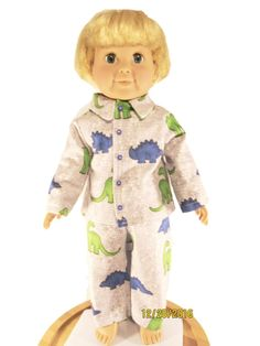 Check out this item in my Etsy shop https://www.etsy.com/listing/501747465/flannel-dinosaur-print-boy-doll-pajamas