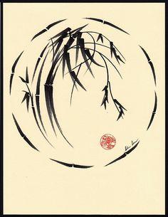 sumi e bamboo enclosed in broken enso