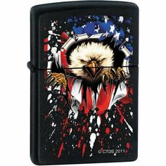 (2x2) CT Bald Eagle Flag - Black Matte Zippo Lighter by Poster Revolution. $28.84. ships quickly and safely in protective packaging. brand new and officially licensed. measures approximately 1.50 by 2.25 inches. (2x2) CT Bald Eagle Flag - Black Matte Zippo Lighter. Save 18%!
