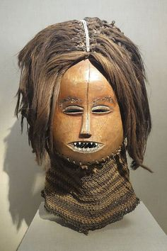 Mask, Democratic Republic of Congo, Lwena people, c. 1930, wood, bark stem, beads, possibly ivory, hide - De Young Museum -
