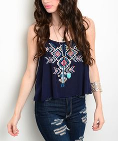 Look what I found on #zulily! Navy & Ivory Geometric Swing Tank #zulilyfinds