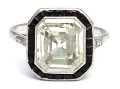 Emerald Cut Diamond and Onyx Platinum Ring