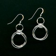 Chainmaille Silver Earrings Chain Link Hammered by WvWorks on Etsy, $34.95