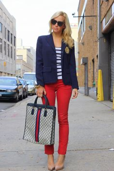 cropped red skinny pants, navy/white striped blouse, navy cardigan, patent camel pumps, tote