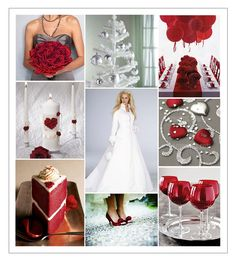 Ideas for red and silver (scarlet and gray) wedding including dress, cake, and decorations.