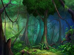 Jungle Wall Mural Ihsanudin intended for proportions 1173 X 932 Rainforest Wall Mural Wallpaper - Just like thrift shops, don't forget to look beyond what The Jungle Book, Forest Mural, Jungle Room, Forest Background, Game Background, Tropical Forest, Wall Murals, Fantasy Art, Fantasy Forest