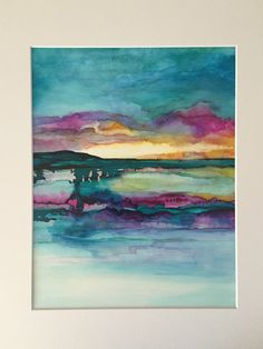 Original Abstract Sunset Alcohol Ink on 11x14 Yupo paper by HeidiStavingaStudio on Etsy