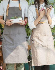 Full Length Gray/Khaki Cotton Linen Bib Apron with Pockets. Suitable for Uniforms of Barber,Barista,Bartender,Stylist,Waiter/Waitress,Florist,Painter,Gardener, Baker or Work ware of Tattoo shop,Craft workshop etc.