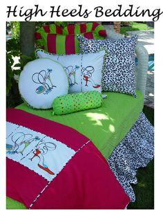 Teen bedding, girls, bed sets, brightly colored, tween, unique, designer bedding, bedrooms, decorating