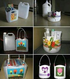 Recycle plastic jugs and make bins for craft projects or storage. Plastic Jugs, Plastic Bottle Crafts, Recycle Plastic Bottles, Plastic Recycling, Recycling Containers, Empty Bottles, Reuse Plastic Containers, Food Containers, Diy Magazine Holder