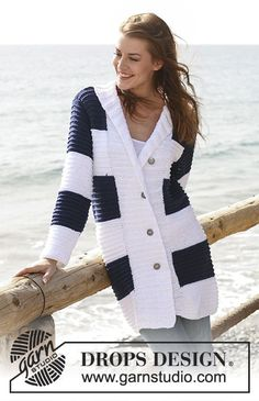"""Weekend by the Sea - Knitted DROPS jacket in stripy pattern with collar and wide front bands in """"Paris"""". Size S - XXXL. - Free pattern by DROPS Design Knit Cardigan Pattern, Crochet Jacket, Jacket Pattern, Knit Jacket, Knit Cowl, Drops Design, Sweater Knitting Patterns, Knit Patterns, Free Knitting"""