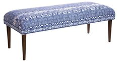 Featuring a blue-and-white tribal-inspired print, this upholstered bench is bound to make a cheerful statement. Exclusive to One Kings Lane. Handmade in the USA.