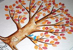 Pre-inked Blätter. Hochzeit Gästebuch Daumen drucken Baum. Original Water Color Illustration Add-ons anzeigen