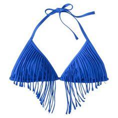 Xhilaration Junior's Triangle Swim Top Fringe -Royal Blue at Target $14.99