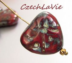 NEW Scarlet Carved Hearts CCHO014 by CzechLaVie on Etsy, $2.36