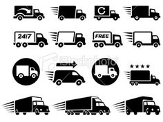 Free Delivery Trucks black and white icon set Royalty Free Stock Vector Art Illustration