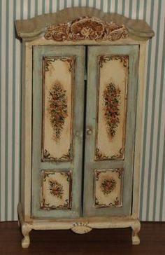 Hand Painted Cabinet Dollhouse Miniatures and Accessories Miniature Rooms, Miniature Furniture, Doll Furniture, Dollhouse Furniture, Decoration, Art Decor, Home Decor, Painted Armoire, Painting Accessories
