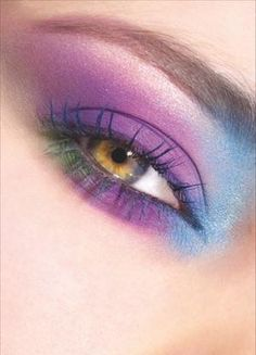 #makeup #eyes #purple #pink #blue #green by Eva