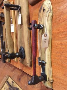 Hammers and other tools upcycled into unique door knockers, David Duckett, Mill Creek Wood Works woodworking is part of Door knockers unique - Industrial Furniture, Rustic Furniture, Cool Furniture, Diy Wood Projects, Wood Crafts, Woodworking Projects, Unique Woodworking, Door Knockers Unique, Scrap Metal Art
