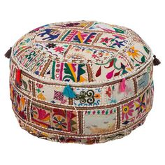 Multicolor pouf handmade from upcycled cotton.   Product: PoufConstruction Material: 100% Upcycled cotton