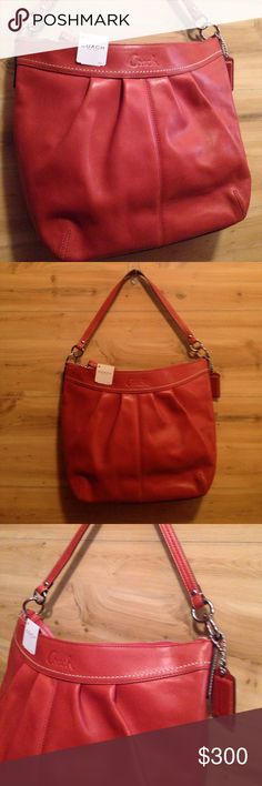 NWT Perfect Spring Coach Convertible Bag Brand new- stuffing still inside. Shoulder bag- burnt orange, rust color - perfect size to wear and go hands free! Price firm unless bundled. No trades Coach Bags Shoulder Bags