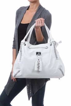 White Silver Chain Faux Leather Handbag