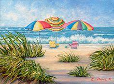 Beach Umbrellas Art Print Signed by the Artist by davinstudios, $35.00