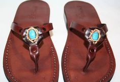 Brown Decor Skinny Leather Sandals by SANDALI on Etsy, $70.00