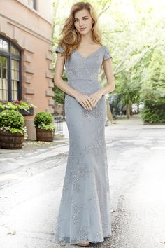 Style 5761 Hayley Paige Occasions bridesmaids dress - Pewter caviar modified A-line bridesmaid gown, curved V-neck bodice with cap sleeve, scoop back, natural waist. Black Bridesmaid Dresses, Sexy Wedding Dresses, Cheap Wedding Dress, Designer Wedding Dresses, Grey Bridesmaids, Bride Dresses, Ball Dresses, Ball Gowns, Bridal Dresses Online