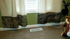 Handmade drop cloth ap camo curtains (bottom) Hunting theme nursery.