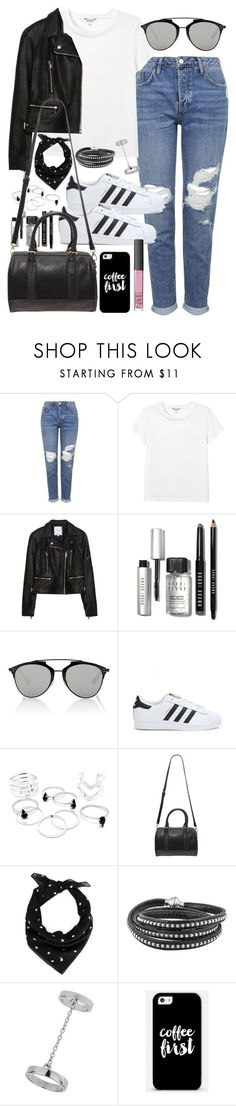 Outfit with boyfriend jeans and Adidas superstars by ferned ❤ liked on Polyvore featuring Topshop, Monki, Zara, Bobbi Brown Cosmetics, Christian Dior, adidas, Forever 21, Yves Saint Laurent, Casetify and NARS Cosmetics